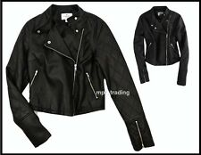 NWT American Eagle Women's Cropped Vegan Leather Moto Jacket Black S M L XL NEW