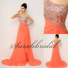 Beads Orange Chiffon Long Prom Party Dresses A-Line Formal Evening Gown In Stock