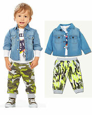 Baby Boys Denim Jacket + T shirt + Camouflage Pants Clothes Sets Outfits 3PCs