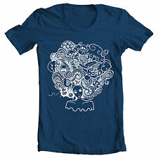 """Nvy blue """"Crazy Afro"""" retro 70's Foxy brown Pam Grier Jackson 5 inspired T Shirt"""