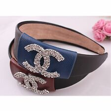 HOT  Luxury Women wide leather head band hair band accessories hair clip 2