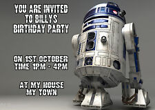 R2D2 STAR WARS  Personalised Birthday Party Invitations A6 + envelopes ROBOT BOY