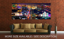 Wall Art Canvas Print Picture Las Vegas Skyline Night Panoramic-Unframed