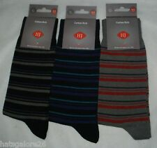 MENS SOCKS STRIPES 3 PAIRS HJ HALL COTTON RICH 6-11 EUR 39-46 SPECIAL OFFER