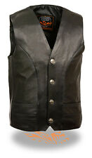 Mens Classic Motorcycle Vest with Buffalo Nickel Snaps & Gun Pockets