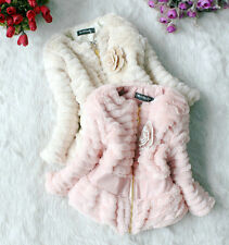 Baby Girls Faux Fur Thicken Outer Jacket Kids Slim Outwear Zip Lined Coat 3-6Yea