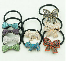 H28 Forever 21 Hair Accessories Rhinestone Gem Bow Ribbon Dog Elastic Band US