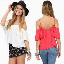 New Button Strap Cold Shoulder Ruffled Chiffon Backless Loose Party Top Blouse B