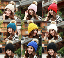 New Women Crochet Knitting Wool Hats Beret Ski Beanie Ball Hat Caps Winter Warm