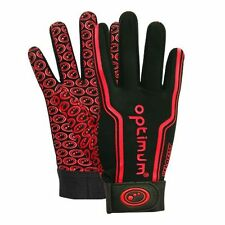 "OPTIMUM ""VELOCITY"" FULL FINGER STIK MIT RUGBY GLOVES - BLACK/RED - PAIR."