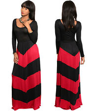 Fashion Womens Long Sleeve Boho Black Red Casual Party Evening Maxi Long Dress