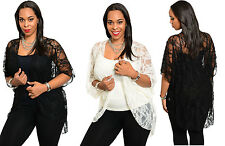 Sexy Women Vintage Flora Sheer Lace Crochet Loose long Cardigan Tops Blouse Coat