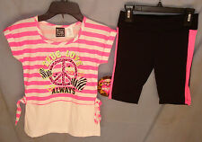 POGO CLUB 3 pc Pink StripeTop and Capri Set w/Matching Socks GIRL SIZES NWT
