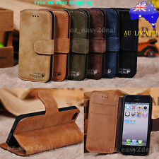 New Leather Genuine Stand Case Cover Flip Wallet Samsung iPhone 4 5 5c 6 6 plus