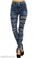 High rise waisted acid wash destroyed ripped slit premium jeans LCP5776