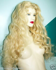 Silk Top 100% Human Hair Indian Remi Remy Full Lace Wig Wigs #613 Blonde Curly