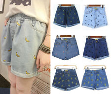 Cute Women Casual Denim Embroidered Floral Banana Slim Shorts Jeans Hot Pants D
