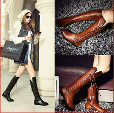 2014 Autumn Fashion Vintage Women Leather Knee High Boots Flat side laceup Boots