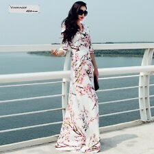 Fashion Plus Size Elegant Half Sleeve Flower Floral Maxi Full-length Dress White