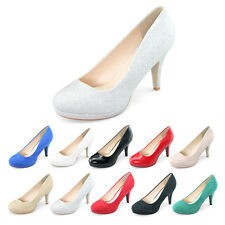 Hot pump shoes suede patent women closed toe court office work comfort high heel
