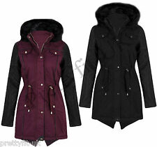Womens Ladies Quilted Leather Sleeve Fur Warm Winter Parka Fishtail Jacket Coat