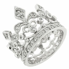 Cubic Zirconia and Rhodium Eternity Crown Ring