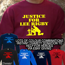 JUSTICE FOR LEE RIGBY SWEATSHIRT -  HELP FOR HEROES MILITARY ARMY SOLDIER JUMPER