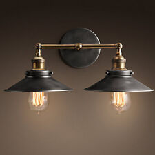 Restoration 20th C. Factory Filament Reflector Double Sconce - Aged Steel