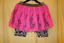 MONSTER HIGH (NWT) Girls Skirt Skort Scooter, Pink Lace, Black Animal Print