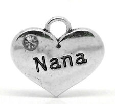 "Wholesale Lots Silver Tone Rhinestone ""NaNa"" Heart Charm Pendants 16mmx14mm"