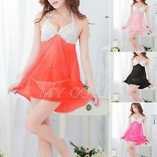 Sexy Women Lace lingerie Sleepwear Nightwear Babydoll Nightdress G-string Hot