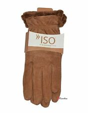 Isotoner Women's Gloves Brown Suede Leather Soft and Warm MicroLuxe Lining $40