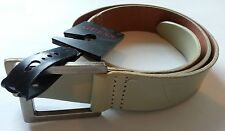 GENUINE GUESS BELT WITH MATTE SILVER BUCKLE EMBOSSED LOGO CAMEL COLOR STRAP
