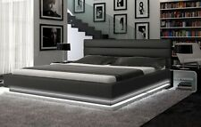 Contemporary Queen-Size Platform Bed Frames W/Lights Headboard Footer Bedroom
