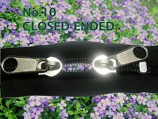 No 10 Twin sliders zip with spiral teeth.Closed end.Lengths (from 90 to 208 cm)