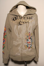 New Ed Hardy by Christian Audigier Rhinestone woman HOODIE khaki eternal love
