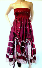 Dark Reds DRAW STRING Dress WENCH BELLY Festival SKIRT HIPPY Steampunk LADIES