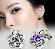 925 Sterling Silver Platinum Plated allergy free crystal stud earrings earring J