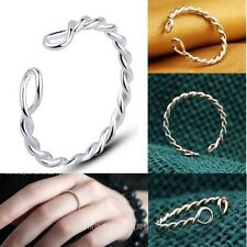 925 sterling silver thin twisted toe ring midi tip Knuckle ring cuff Twist
