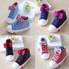 New Kids Children Girls Bowknot Polka Dot Sneakers Laces Up Sports Casual Shoes