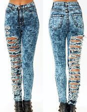 New! High Waisted Acid Mineral Wash Distressed Ripped Skinny Denim Jean Pants