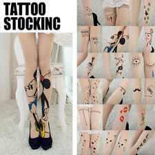 Sexy Womens Tattoo Pattern Transparent Sheer Pantyhose Stockings Leggings New