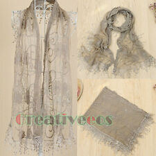 Antique Embroidered Lotus Net Lace Lightweight Scarf  Funky Fun Flowing Tassel