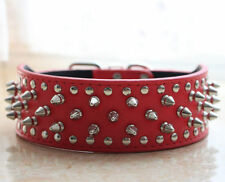New Large Breed Leather Spiked Studded Dog Collar Pitbull Bully Mastiff S M L XL