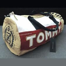TOMMY HILFIGER NEW LARGE DUFFLE BAG/GYM BAG, NWT,VERY NICE,BEIGE,RED & WHITE.