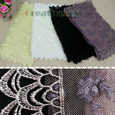 Delicate Cotton Embroidery Floral Tulle Net Lace With Lace Trim Infinity Scarf