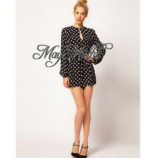Hot Lady Polka Dot OL Career Rompers Casual Pant Backless Long Sleeve Jumpsuit M