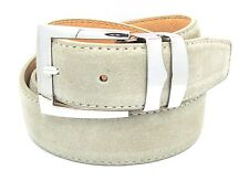 Men's Cream Genuine Suede Leather Belt Silver Buckle Casual Suede Cream Belt