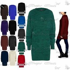 Womens Long Sleeve Oversized Ladies Chunky Knitted Long Sweater Jumper Dress Top