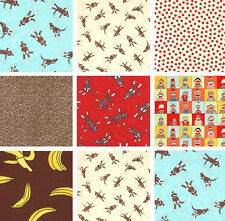 New! Moda Erin Michael Funky Sock Monkey Designer Cotton Flannel Fabric REMNANTS
